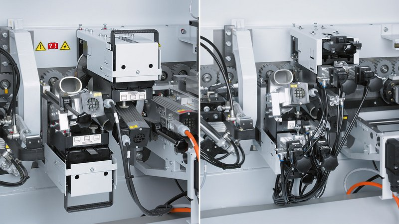 Trimming unit with manual adjustment / optional pneum. 3-point adjustment for an effective production and shorter changeover time