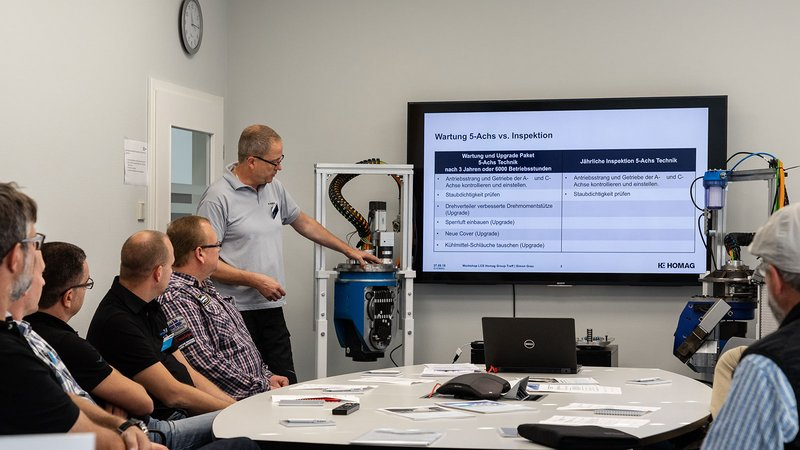 For the first time this year, HOMAG organized workshops on a variety of topics. Here: Experience preventive service solutions live — 5-axis maintenance, spindle cooling and intelliAdvice.