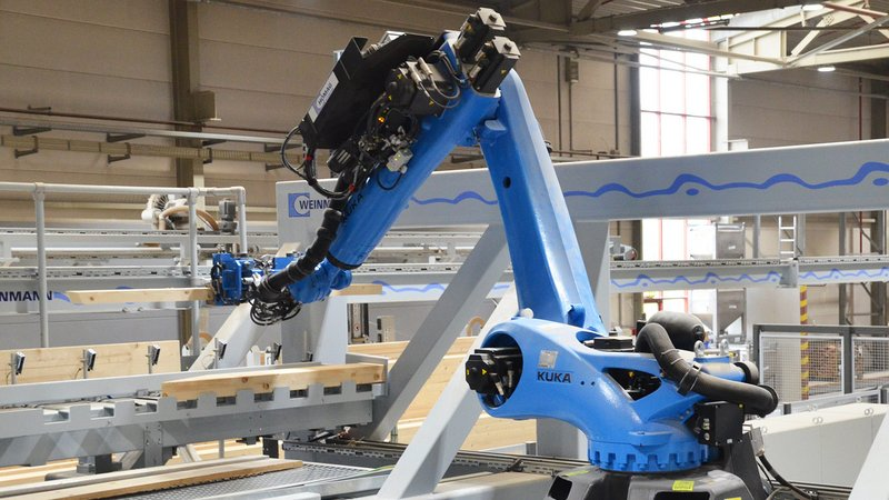 WEINMANN production line with robot technology, carpentry machine, frame work station and storage systems