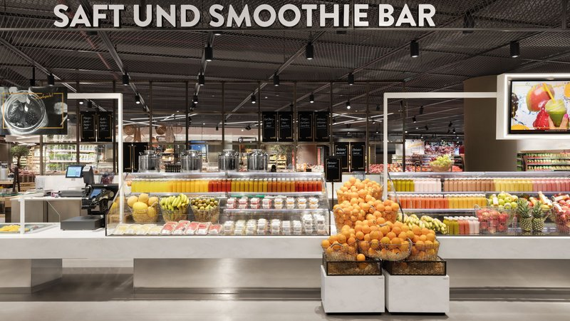 Well-known clients of the Schweitzer Project AG include, among others, Carrefour, Edeka (on the picture: subsidiary in Düsseldorf), REWE, Nespresso, United Colors of Benetton and Armani.