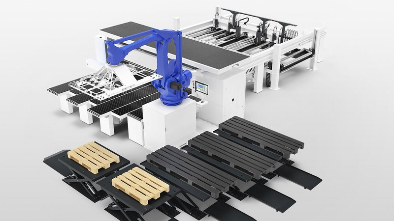 Panel dividing saw SAWTEQ B-300-400 flexTec with 5 lifting tables.