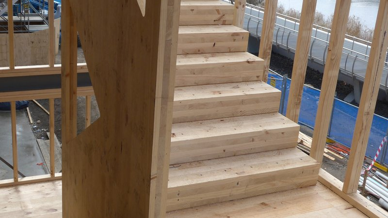 Stairs made with cross laminated timber produced with the WEINMANN solid wood portal WMP
