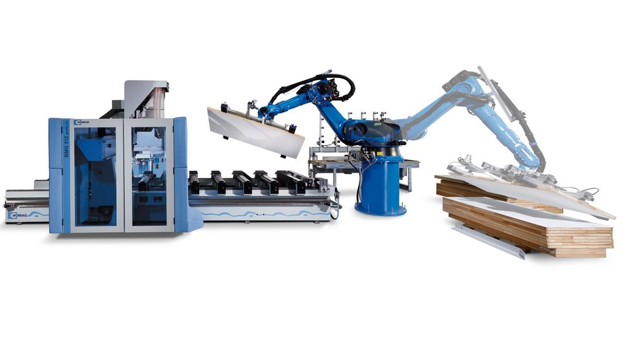 Door leaf processing with automatic robot handling