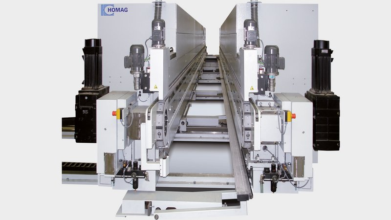 Electronic shaft for double-sided machines